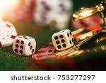 vintage casino chips on green... | Shutterstock . vector #753277297