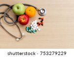 stethoscope with assorted... | Shutterstock . vector #753279229