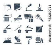 set of black icons home repair  ... | Shutterstock .eps vector #753280711