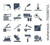 set of black icons home repair  ... | Shutterstock .eps vector #753280711