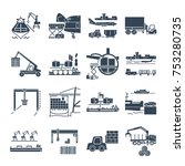 set of black icons loading and... | Shutterstock .eps vector #753280735