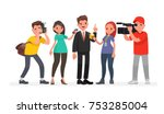journalists of news channels... | Shutterstock .eps vector #753285004