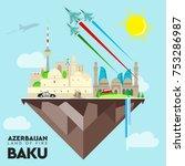 baku vector azerbaijan flag... | Shutterstock .eps vector #753286987