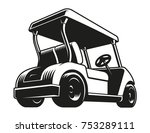 Golf Cart Vector. Monochrome...