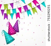 colorful garlands on white... | Shutterstock .eps vector #753290251