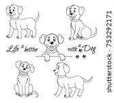 set of cute little dog. happy... | Shutterstock .eps vector #753292171