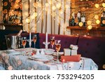 christmas or new year party... | Shutterstock . vector #753294205