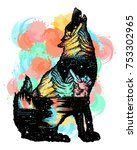 wolf double exposure color... | Shutterstock .eps vector #753302965