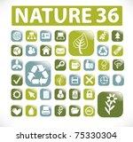 36 nature buttons  vector   Shutterstock .eps vector #75330304