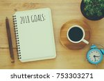 top view 2018 goals list with... | Shutterstock . vector #753303271
