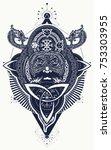 viking tattoo and t shirt... | Shutterstock .eps vector #753303955