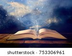 image of open antique book on... | Shutterstock . vector #753306961