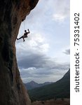 silhouette of rock climber... | Shutterstock . vector #75331402