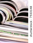 stack of open magazines   close ... | Shutterstock . vector #7533148