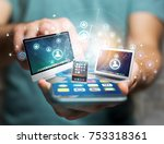 view of a computer and devices... | Shutterstock . vector #753318361