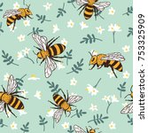 vector seamless pattern with... | Shutterstock .eps vector #753325909
