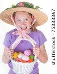 girl having fun on easter | Shutterstock . vector #75333367