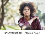 young black female with afro... | Shutterstock . vector #753337114