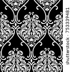 vector damask seamless pattern... | Shutterstock .eps vector #753339481