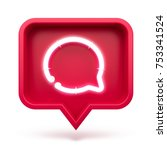 message icon on a red pin... | Shutterstock . vector #753341524