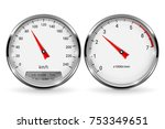 speedometer and tachometer.... | Shutterstock .eps vector #753349651