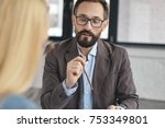 successful bearded man employer ... | Shutterstock . vector #753349801