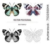 vector polygonal butterfly... | Shutterstock .eps vector #753350044