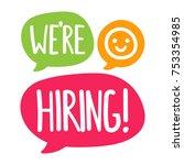 we're hiring. vector flat hand...   Shutterstock .eps vector #753354985