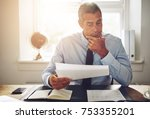 mature businessman wearing a... | Shutterstock . vector #753355201