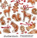 watercolor gingerbread seamless ...   Shutterstock . vector #753355537