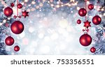 red christmas balls hanging... | Shutterstock . vector #753356551
