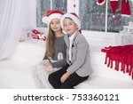 happy little couple  christmas... | Shutterstock . vector #753360121