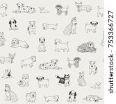 Stock vector cartoon doodle puppy dog seamless vector hand drawn pattern 753366727