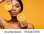 close up of woman with vivid... | Shutterstock . vector #753367255