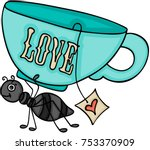 Ant Carrying A Love Cup Of Tea