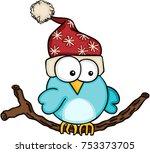 christmas blue bird   | Shutterstock .eps vector #753373705