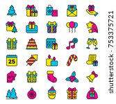 set of christmas icons. vector... | Shutterstock .eps vector #753375721