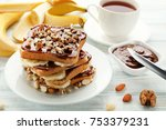 toasts bread with bananas ...   Shutterstock . vector #753379231