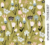floral seamless pattern with... | Shutterstock .eps vector #753382387