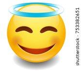 angel innocent emoji smiley...   Shutterstock .eps vector #753382651