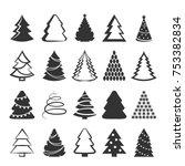 christmas tree set. vector... | Shutterstock .eps vector #753382834