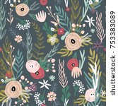 floral seamless pattern with... | Shutterstock .eps vector #753383089