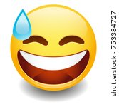 sweat tear emoji smiley face... | Shutterstock .eps vector #753384727