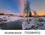 Winter Sunset In Winter Field...