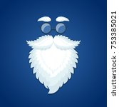 santa beard and glasses on blue ... | Shutterstock .eps vector #753385021
