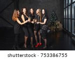 beautiful girls in evening... | Shutterstock . vector #753386755