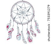 dreamcatcher. feathers. tattoo... | Shutterstock .eps vector #753391279