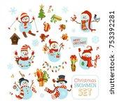 vector set of cute snowmen.... | Shutterstock .eps vector #753392281