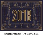 merry christmas card template... | Shutterstock .eps vector #753393511