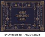 merry christmas card template... | Shutterstock .eps vector #753393535